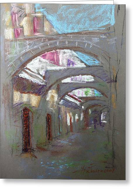 Old Street Pastels Greeting Cards - Old Town in Rhodes  Greece Greeting Card by Ylli Haruni