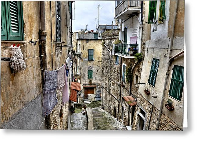 Old Town Of Sanremo Greeting Card by Joana Kruse