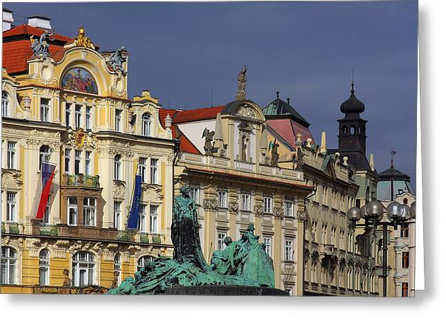 Buildings Greeting Cards - Old Town Square in Prague Greeting Card by Christine Till