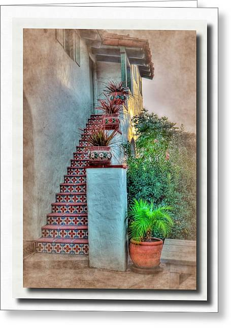 Old Pyrography Greeting Cards - Old Town Stairs Greeting Card by Frank Garciarubio