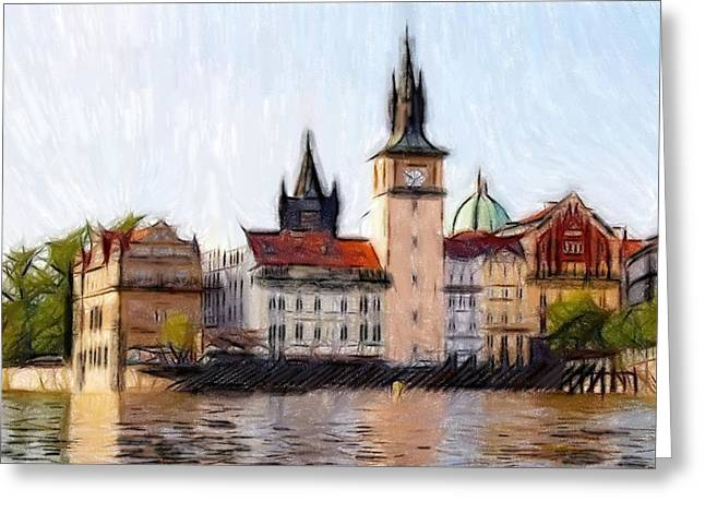 Town Pastels Greeting Cards - Old Town Greeting Card by Stefan Kuhn