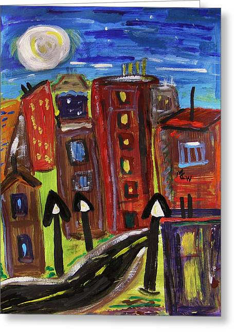 Night Lamp Drawings Greeting Cards - Old Town with a Midnight Moon Greeting Card by Mary Carol Williams
