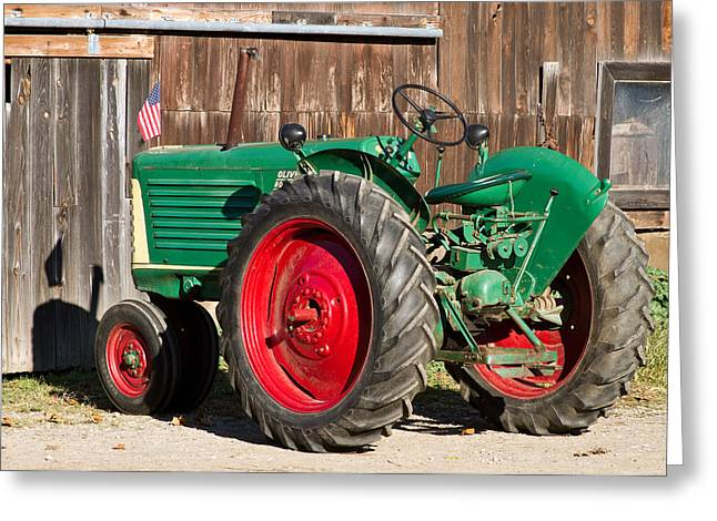 Old Tractor Older Barn Greeting Card by Tim Fitzwater
