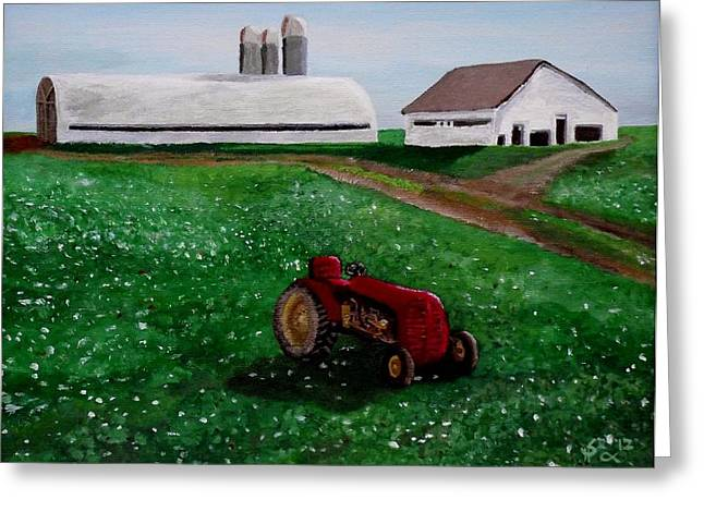 Dairy Factories Greeting Cards - Old Tractor on a Pennsylvania Farm Greeting Card by Spencer Hudon II