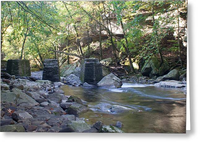 Richland Creek Greeting Cards - Old Train Trestles Greeting Card by David Troxel