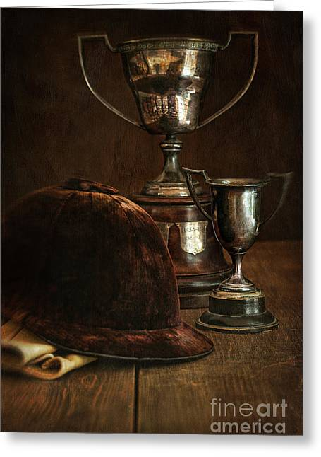 Old Trophies With Equestrian Riding Hat Greeting Card by Sandra Cunningham