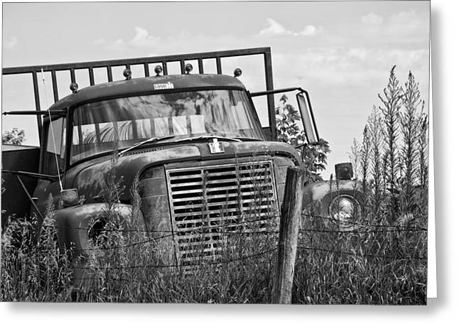 Old Fence Posts Greeting Cards - Old Truck in the Weeds Greeting Card by Wilma  Birdwell