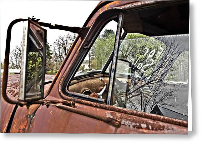 Susan Leggett Greeting Cards - Old Truck Mirror Greeting Card by Susan Leggett