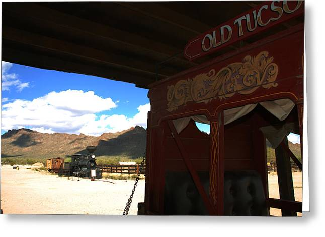 Legend Of The West Greeting Cards - Old Tuscon Stage Coach and The Reno Greeting Card by Susanne Van Hulst