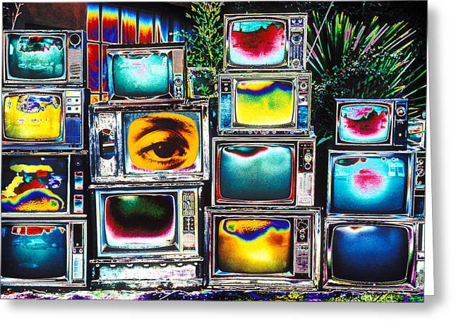 Old Tv Photographs Greeting Cards - Old TVs Abstract Greeting Card by Garry Gay