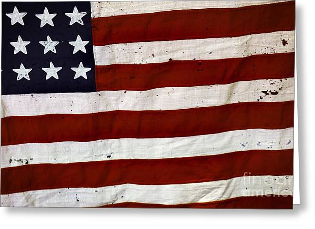Old Usa Flag Greeting Card by Carlos Caetano