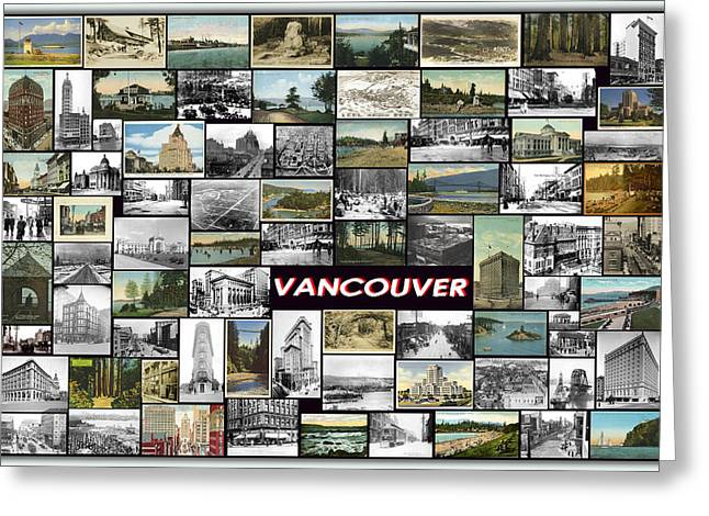 Memory Pyrography Greeting Cards - Old Vancouver Collage Greeting Card by Janos Kovac