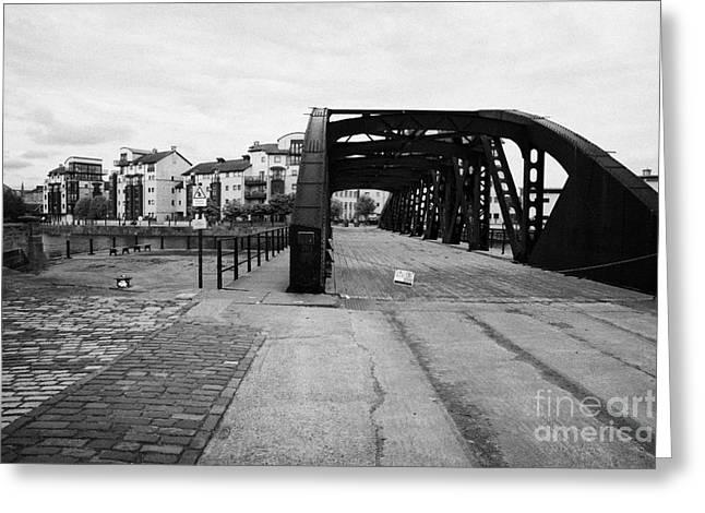 Rennie Greeting Cards - Old Victoria Swing Railway Bridge To Rennies Isle In Leith Docks Shore Edinburgh Scotland Greeting Card by Joe Fox