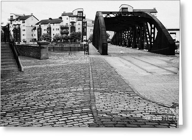 Rennie Greeting Cards - Old Victoria Swing Railway Bridge To Rennies Isle In Leith Docks Shore Edinburgh Scotland Uk United  Greeting Card by Joe Fox