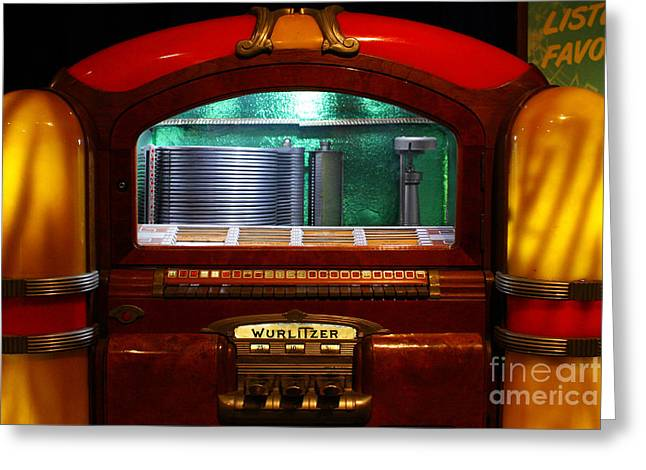 Wing Chee Tong Greeting Cards - Old Vintage Wurlitzer Jukebox . 7D13100 Greeting Card by Wingsdomain Art and Photography