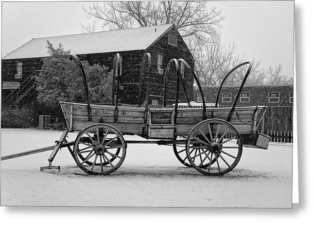 Snow On The Ground Greeting Cards - Old Wagon in the Snow BW Greeting Card by Jenny Hudson