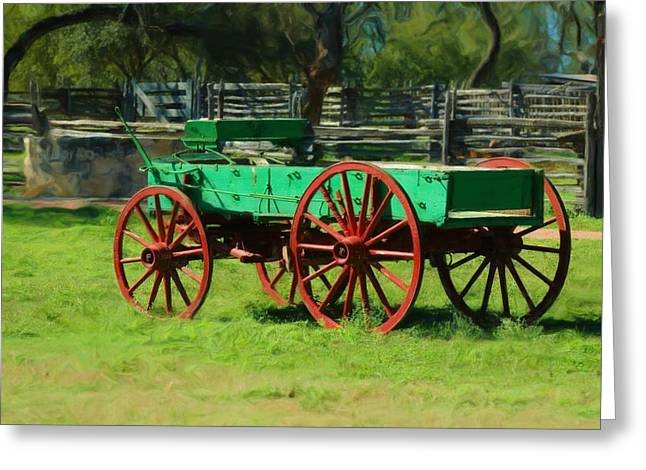 Wagon Wheels Mixed Media Greeting Cards - Old wagon on LBJ ranch Greeting Card by Bill Willemsen