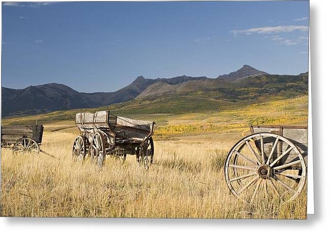 Alberta Foothills Landscape Greeting Cards - Old Wagons, Foothills, Alberta, Canada Greeting Card by Philippe Widling