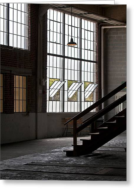 Wooden Stairs Greeting Cards - Old Warehouse Greeting Card by Wilma  Birdwell
