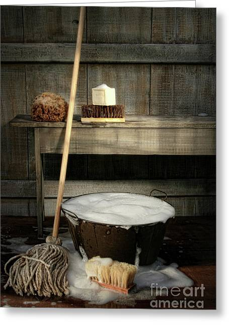 Bristles Greeting Cards - Old wash bucket with mop and brushes Greeting Card by Sandra Cunningham