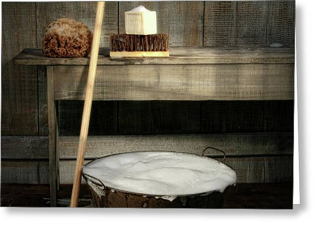 Old wash bucket with mop and brushes Greeting Card by Sandra Cunningham