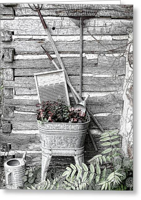 Sprinkling Can Greeting Cards - Old Wash Tub with Flowers and Garden tools Sketch Greeting Card by Linda Phelps