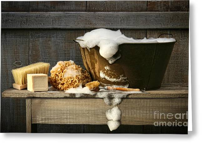 Barn Digital Art Greeting Cards - Old wash tub with soap on bench Greeting Card by Sandra Cunningham