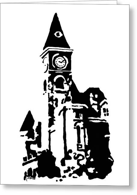 Arkansas Drawings Greeting Cards - Old Washington County Court House in Fayetteville AR Greeting Card by Amanda  Sanford