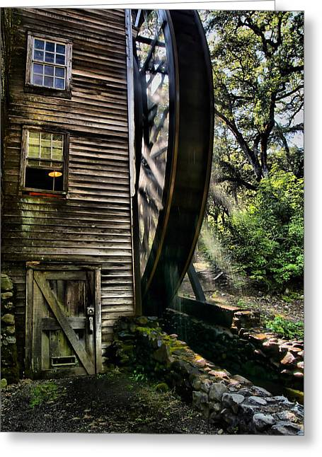 Grist Mill Digital Art Greeting Cards - Old Water Wheel Greeting Card by Michael  Ayers