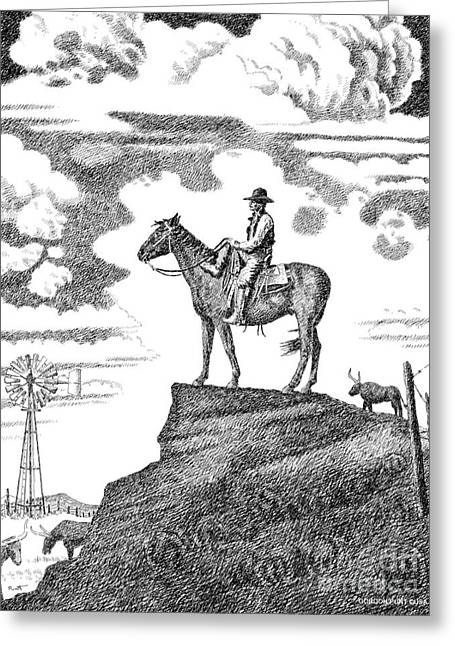 Pen And Ink Drawings For Sale Greeting Cards - Old-West-Art-Cowboy Greeting Card by Gordon Punt