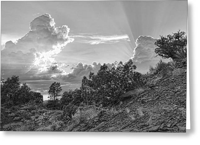 Rugged Terrain Greeting Cards - Old West Sunset BW Greeting Card by Dan Turner