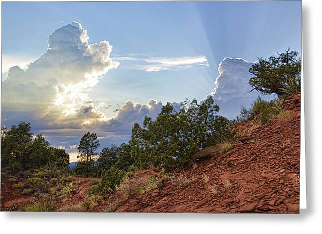 Rugged Terrain Greeting Cards - Old West Sunset Greeting Card by Dan Turner