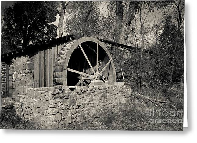 Cathedral Rock Greeting Cards - Old West Water Mill 3 Greeting Card by Darcy Michaelchuk