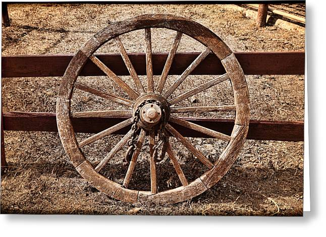 Wooden Wagons Greeting Cards - Old West Wheel Greeting Card by Kelley King
