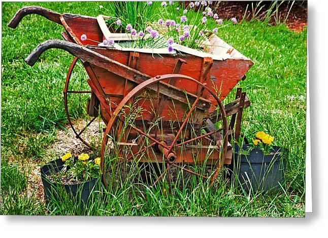 Susan Leggett Greeting Cards - Old Wheelbarrow Greeting Card by Susan Leggett