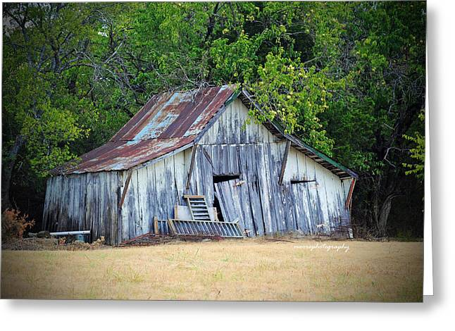 Old Barns Greeting Cards - Old White Barn Greeting Card by Lisa Moore