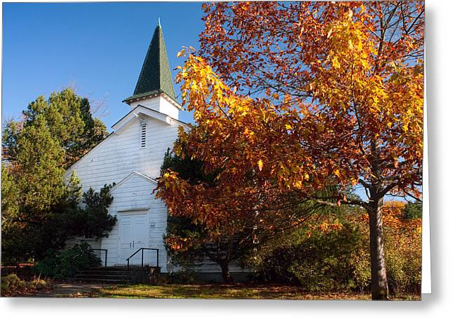 Old Relics Greeting Cards - Old White Church in Autumn Greeting Card by Stacey Lynn Payne