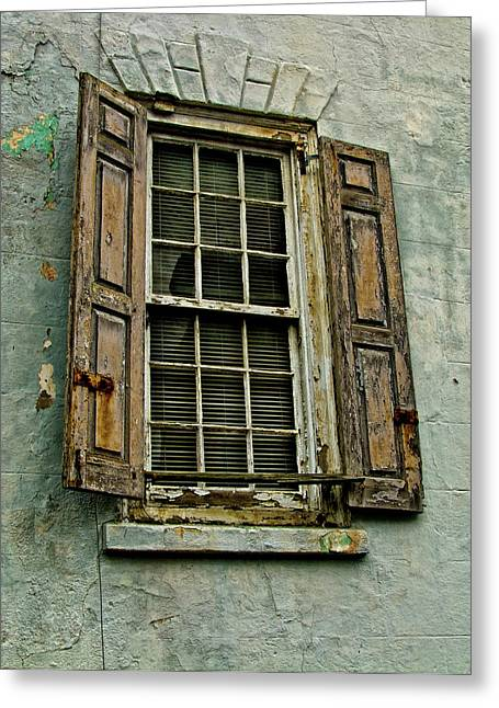 Charleston Greeting Cards - Old Window Greeting Card by Louis Dallara