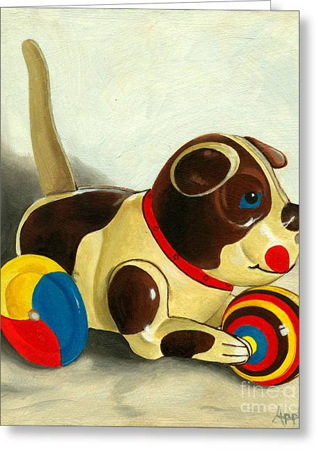 Toy Dog Greeting Cards - Old Windup Dog toy painting Greeting Card by Linda Apple