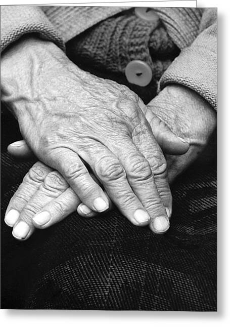 Old Woman's Hands Greeting Card by Emanuel Tanjala