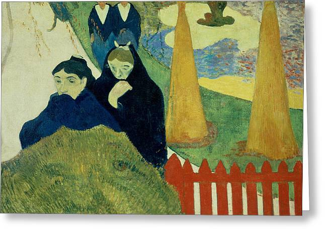 Old Fence Post Greeting Cards - Old Women of Arles Greeting Card by Paul Gauguin