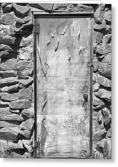 Art Galleries On Line Greeting Cards - Old Wood Door  and Stone - Vertical BW Greeting Card by James BO  Insogna