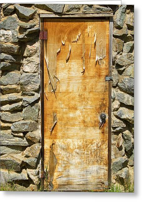 Art Galleries On Line Greeting Cards - Old Wood Door and Stone - Vertical  Greeting Card by James BO  Insogna