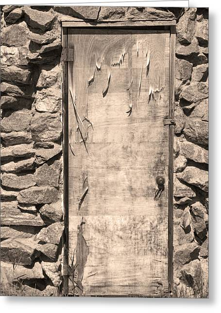 Art Galleries On Line Greeting Cards - Old Wood Door  and Stone - Vertical Sepia BW Greeting Card by James BO  Insogna