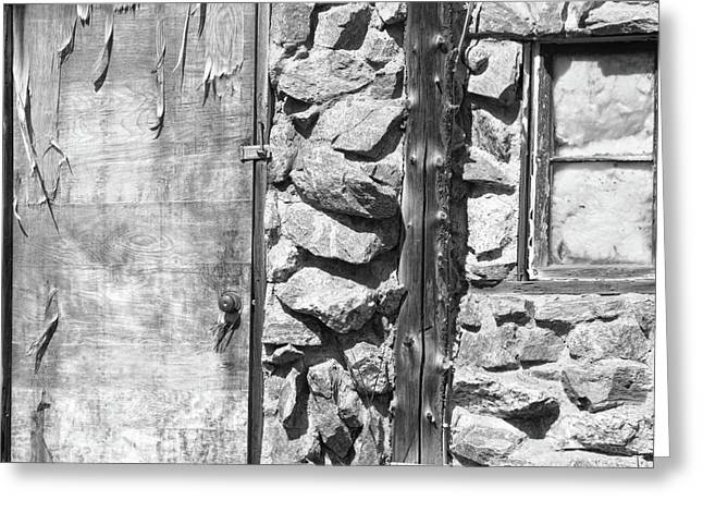 Art Galleries On Line Greeting Cards - Old Wood Door Window and Stone in Black and White Greeting Card by James BO  Insogna