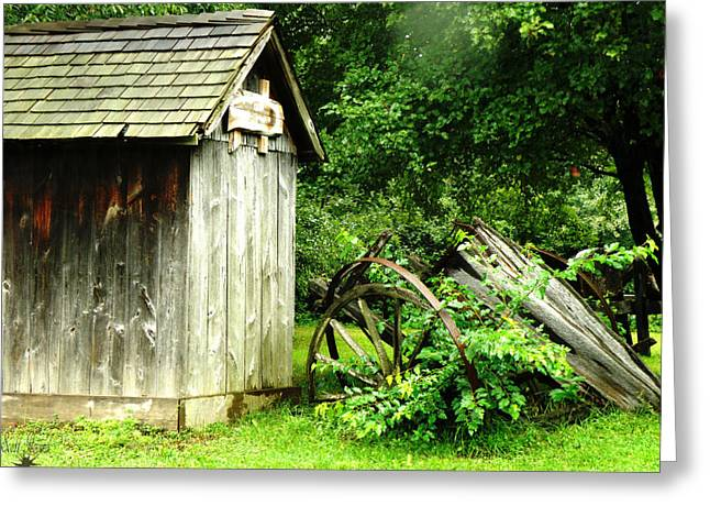 Country Shed Greeting Cards - Old Wood Shed Greeting Card by Scott Hovind