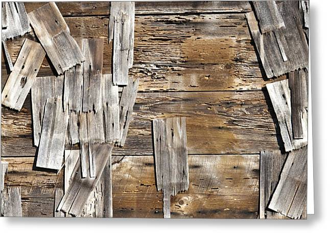 Old Wood Shingles on Building, Mendocino, California, CA Greeting Card by Paul Edmondson