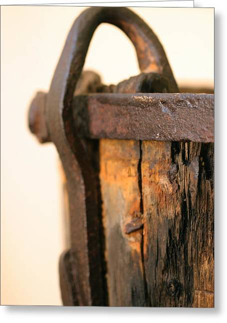 Rusted Barrels Greeting Cards - Old Wooden Barrel At The Ore Mine Sweden Greeting Card by Dagmar Ceki