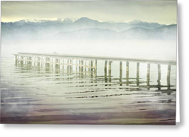Boardwalk Greeting Cards - Old Wooden Bridge Into A Mountain Lake On A Foggy Morning Greeting Card by Joana Kruse