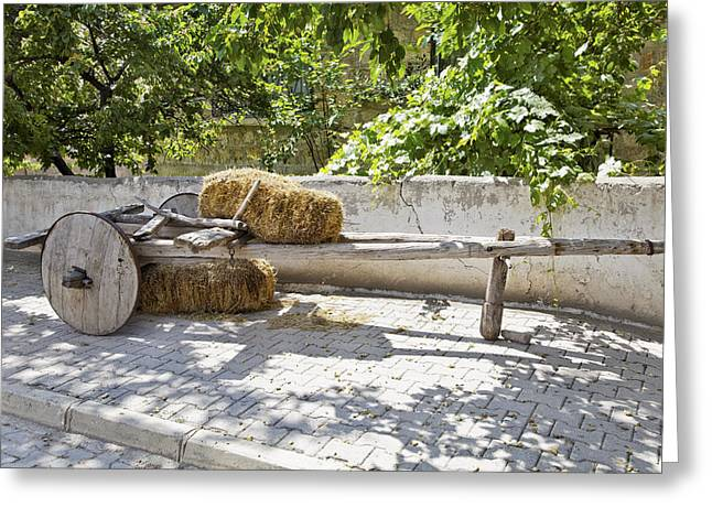 Antique Straight Pattern Greeting Cards - Old wooden Cart in the shade Greeting Card by Kantilal Patel